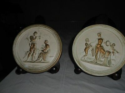 Two Vintage Plaster Wall Plaques/ Pictures Cream/gold