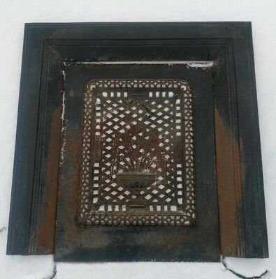 Antique Cast/Wrought Iron Fireplace Surround and Summer Cover/Grate