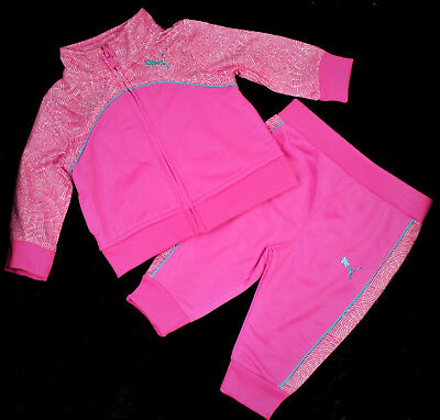 Puma Baby Girl Infant Tricot Track Jacket Pant 2 Piece Set Pink Size 0-3 Months