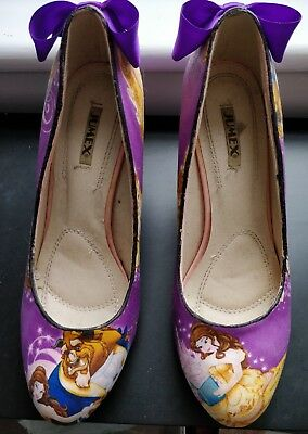 Beauty and The Beast Custom Size 6 Heels Shoes Disney Purple Women's Rare Bow
