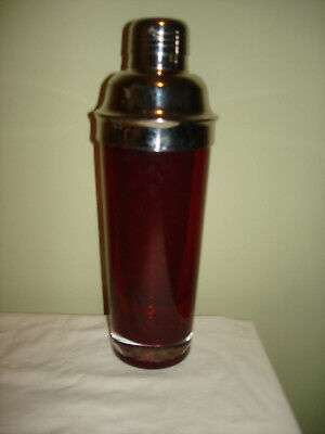 Vintage Cramberry Glass Cocktail Shaker Art Deco Martini Drink Mixer Stripes