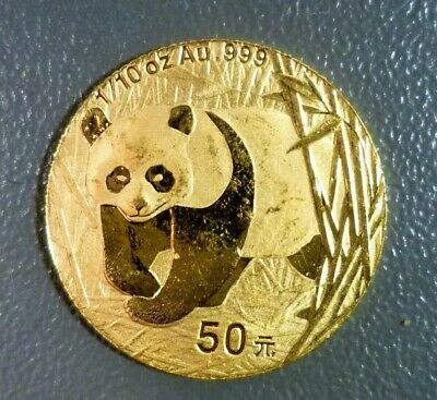 2002 1/10 oz Gold China Chinese Panda Coin 50 Yuan Key Date
