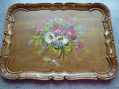 Wooden Tray, Hand Painted Flowers, Bavarian