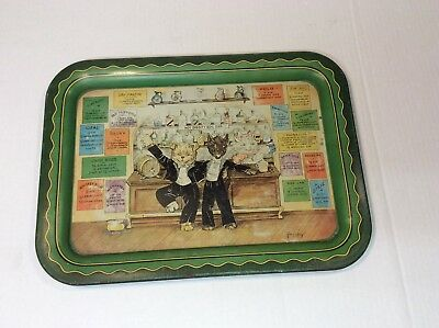 VINTAGE 1933 HOT DIGGITY DOG Tin Lihograph Bar Tray by Grace Lopez