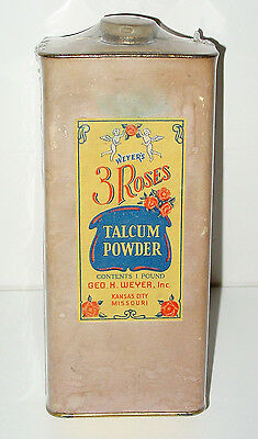 Weyer's 3 Roses Talcum Talc Powder Container w/ Tin Lid - Kansas City, MO