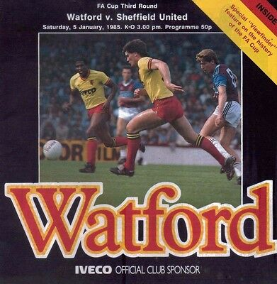 Watford v Sheffield United 5 January 1985 - Official Matchday Programme