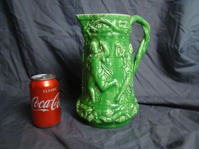 Probably UNIQUE Minton Majolica Tower Jug in Green Colourway PERFECT