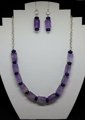 Genuine Amethyst & Quartz silver plated necklace & earrings-February birthstone!
