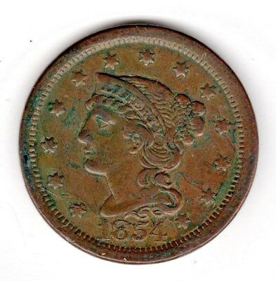 1854 Large Cent - Braided Hair - Really Nice Condition!