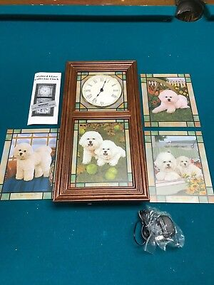 Bichon Frise Stained Glass Clock 4 different pictures Danbury Mint