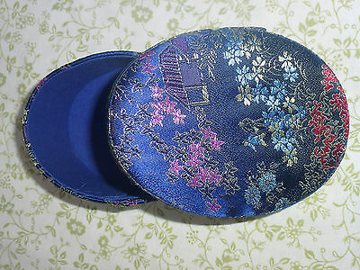 Vintage Chinese silk embroidered blue oval-shaped jewellery or trinket box