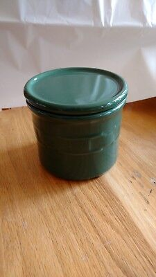 Longaberger Pottery Heritage Green Small Crock w/lid  1 Pt Candle Crock USA