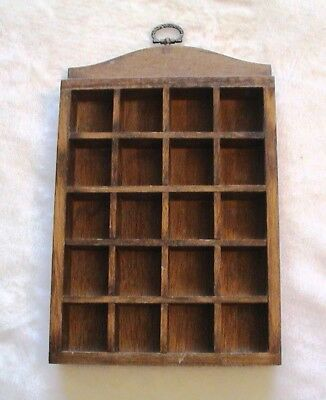 THIMBLE DISPLAY RACK holds 20  VINTAGE wooden wall mounted