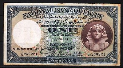 "Egypt - 1940-45 National Bank of Egypt 1 Pound P22c Banknote  VF+++ ""NIXON SIGN"""