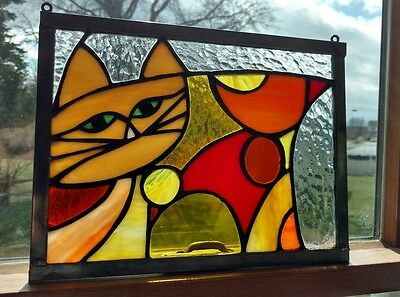 Original No Two Alike Stained Glass Whimsical Yellow Orange Cat Panel