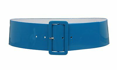 Ladies High Waist Patent Leather Wide Fashion Square Belt, Turquoise | L/XL - 40