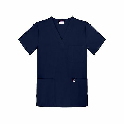 Sivvan Unisex Scrubs V-Neck 3 Pocket Top (Available In 12 Colors) Navy Medium