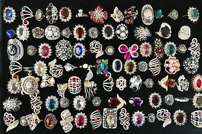 Huge Vintage To Now Junk Drawer Jewelry Lot 90 Rings Estate Rhinestone Untested5