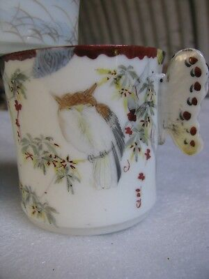 3 Japanese porcelain cups butterfly wing handels, owls in tree and mountains