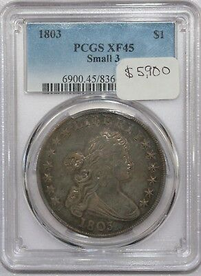 1803 Draped Bust Silver Dollar Small 3 Certified Pcgs Xf45 Xf 45 - Super Rare!