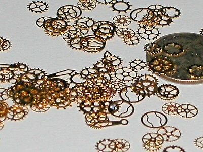 15pc. Tiny metal golden wheels gears charm fairy dust glitter confetti steampunk
