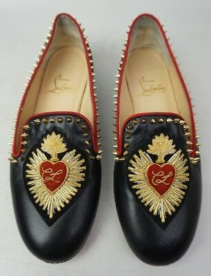 4f38ddf4d1a Christian Louboutin Mi Corazon Spiked Flat Black Leather Loafers Women s  Size 35