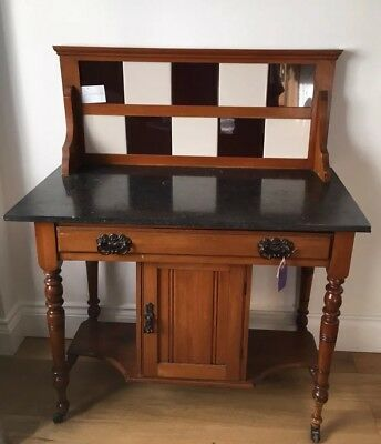 Edwardian Marble Top Washstand With Tiled Back