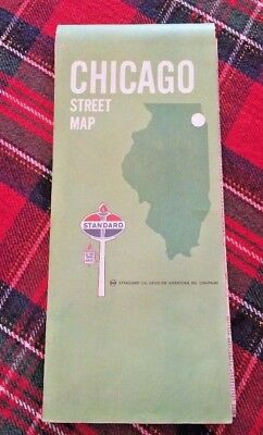Vintage 1970 Standard Oil Chicago Street Highway Road Map American Oil