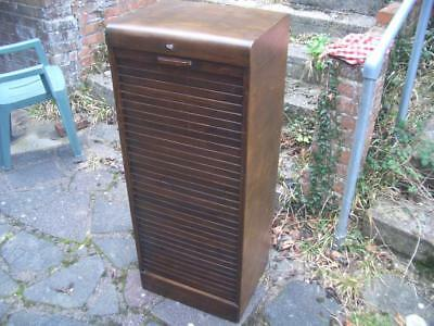 Antique tambour fronted wooden filing cabinet