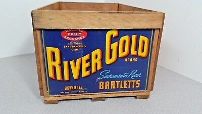 """Vintage Wooden Fruit Crate/Box """"RIVER GOLD BRAND"""" PACIFIC FRUIT EXCHANGE, NICE"""