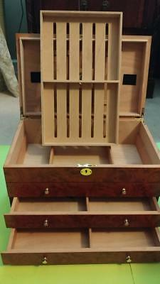 Cigar Humidor Large-Holds 150-200 Cigars Each-Great Looking-Excellent Condition!