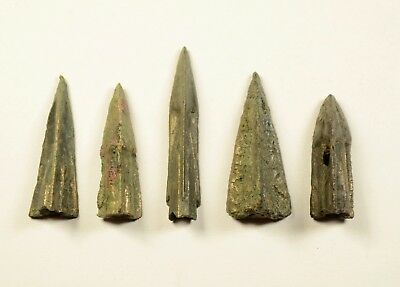 SUPERB LOT OF 5 Ancient Greek Scythian Arrow Heads Bronze 5th c BC