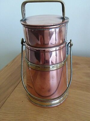 Rare Copper and Brass Milk Cannister Pint Measure c1910
