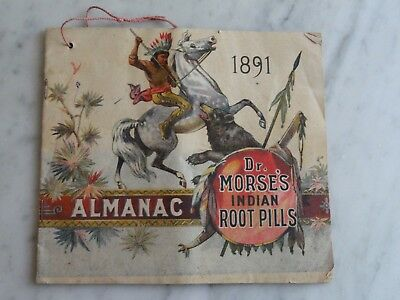 Antique Advertising Almanac 1891 Dr Morse's Indian Root Pills Rensselaer NY