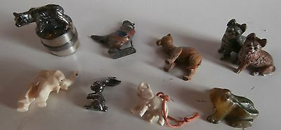 8 ANTIQUE  FIGURINES animals   bronze cast iron  metal  lead  pewter