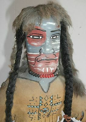 """old Leather  lrg Wooden Doll Figure KACHINA   Signed  28 """""""