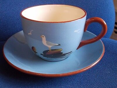 Dartmouth Devon Ware Pottery Seagull Large Cup and Saucer
