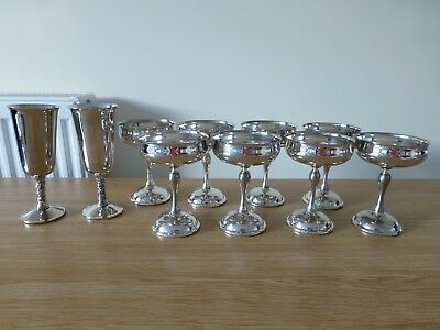 Vintage Silver Plated Champagne Wine Goblets Flutes x 10