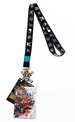 One Piece Pirate Flags Lanyard ID Badge Holder & PVC Straw Hat Charm Official