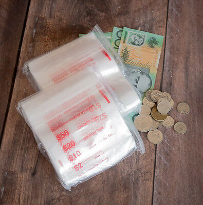 Coin Bags Plastic Ziplock (Click-Seal)  Qty 1000 - Money Bags