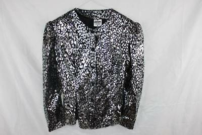 Vintage 1980s Silver METALLIC Animal Print AVANT GARDE Statement Shoulder JACKET