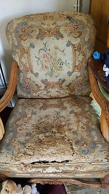 Antique French Needlepoint tapestry Embroidered Carved Armchair Victorian 1800's