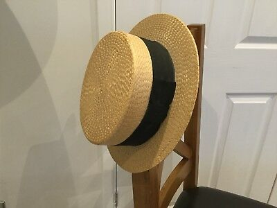 Mens Antique Straw Boater Hat. Superior Finish Latest. Size 7 3/8