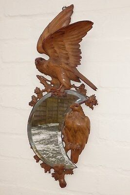 """A Rare Antique Swiss Carved Black Forest Pair Of """" Golden Eagles """"  Wall Mirror"""