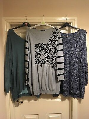 Bundle Of 3 Ladies Plus Size 22 24/26 Jumpers - All Well Worn