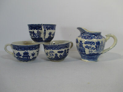 Japanese Blue Willow Cups Creamer Antique Blue Hand Painted Pagoda Houses 4 Pcs