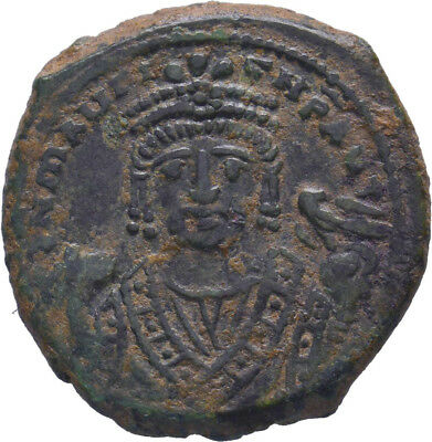 Maurice Tiberius. 582-602. AE follis. Antioch mint,  Best of its type !!!