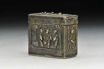 Antique Signed Chinese Export Silver Opium Box with Relief Characters