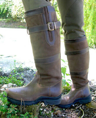 Mark Todd Vision Tall Leather Waterproof Country Boots Brown Size 6 40