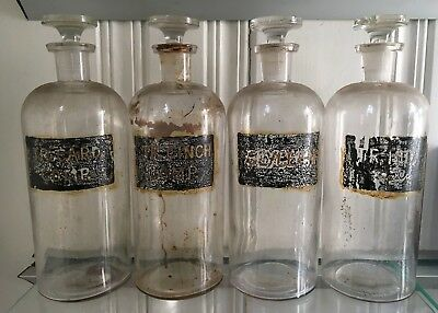 LOT 4 ANTIQUE OLD painted glass Pharmacy Chemistry Bottles medicine apothecary